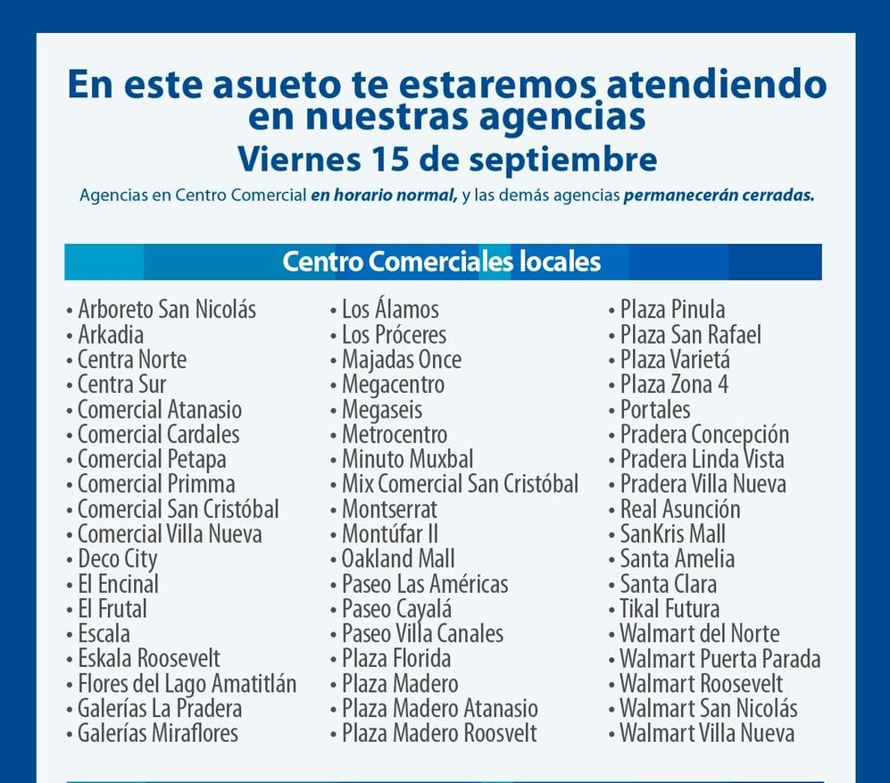 horarios 15 septiembre banco industrial