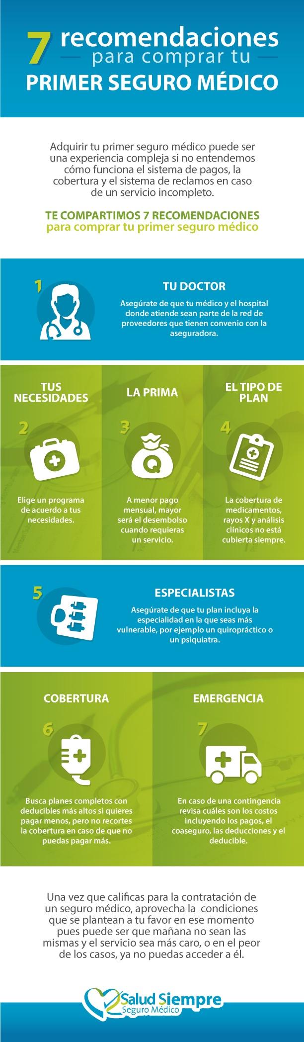 Salud-Siempre-infografía-7 recomendaciones para comprar tu primer seguro medico