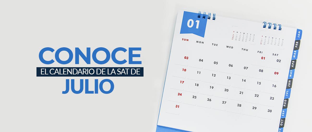 Julio Calendario.Calendario Sat De Julio 2018